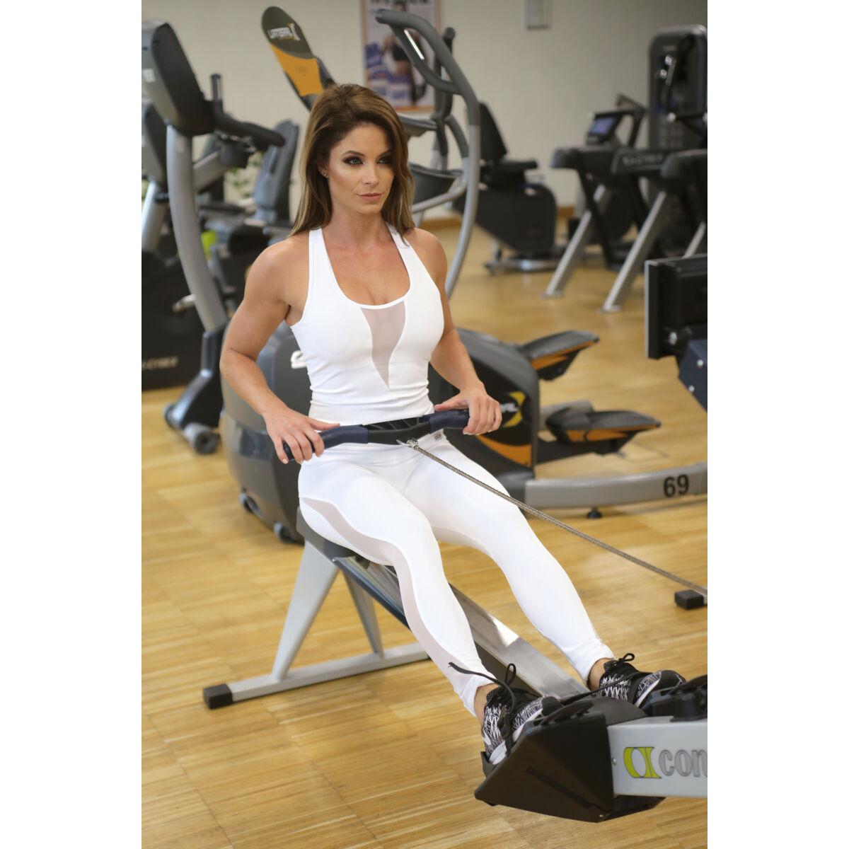 Flame női fitness tüll leggings + atléta szett, fehér