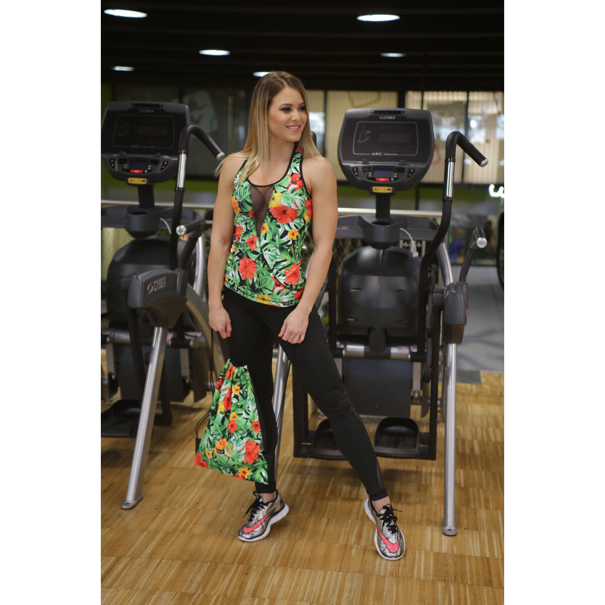 Flame fekete női fitness tüll leggings + jungle atléta szett