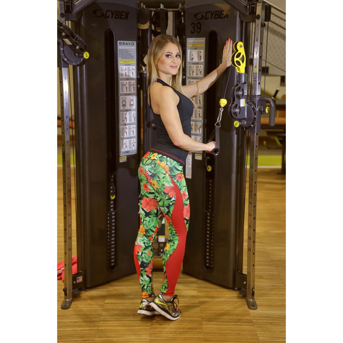 Flame jungle-piros női fitness tüll leggings + fekete-piros atléta szett