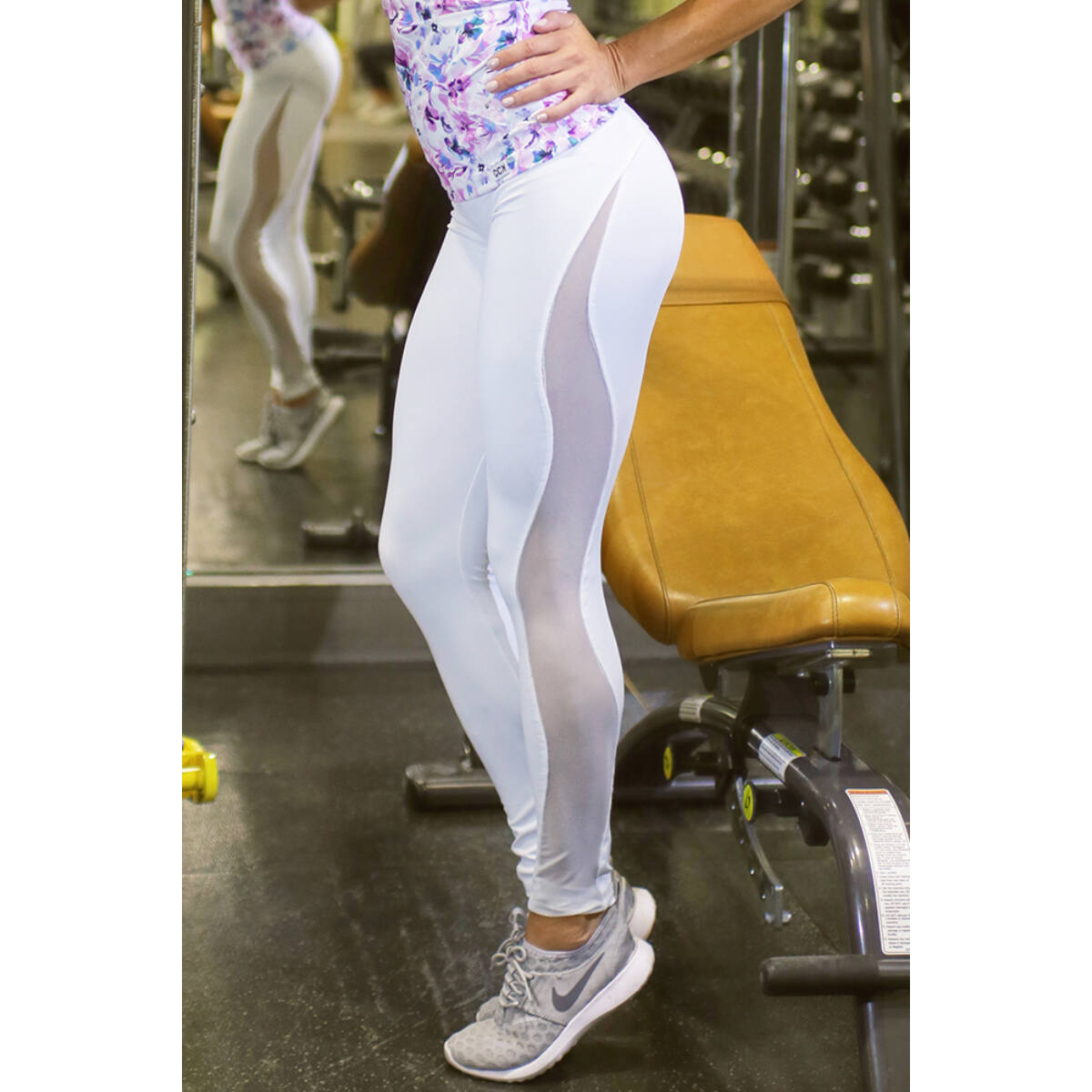 Fehér flame női fitness tüll leggings
