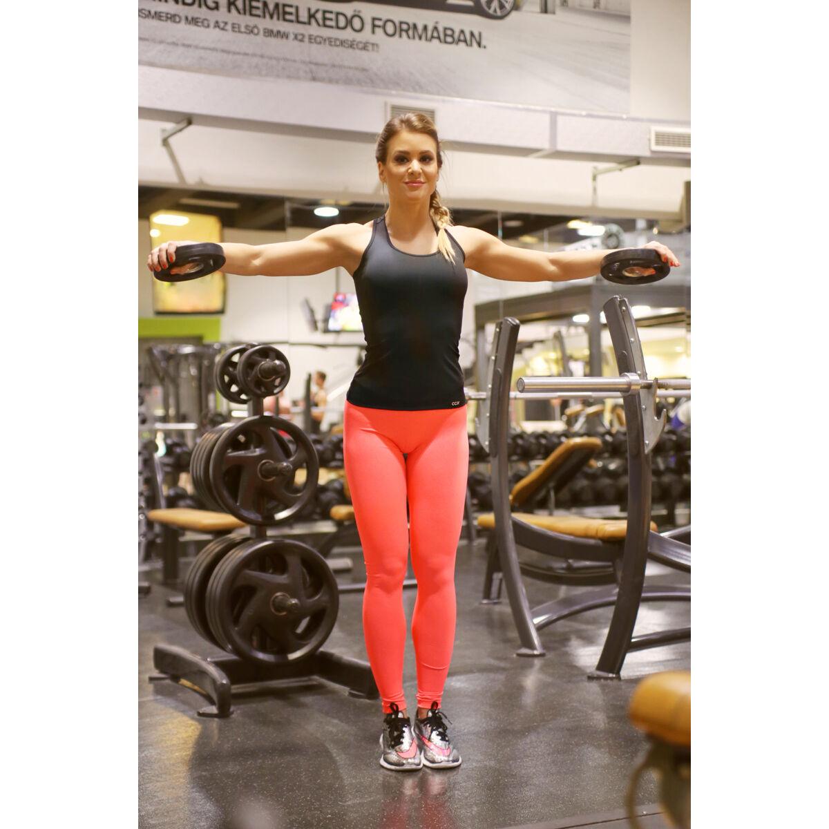 Neon korall (rio) basic női fitness sport leggings + fekete atléta szett