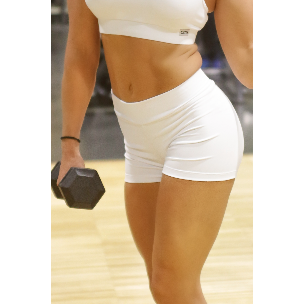 Fehér basic női fitness sport short