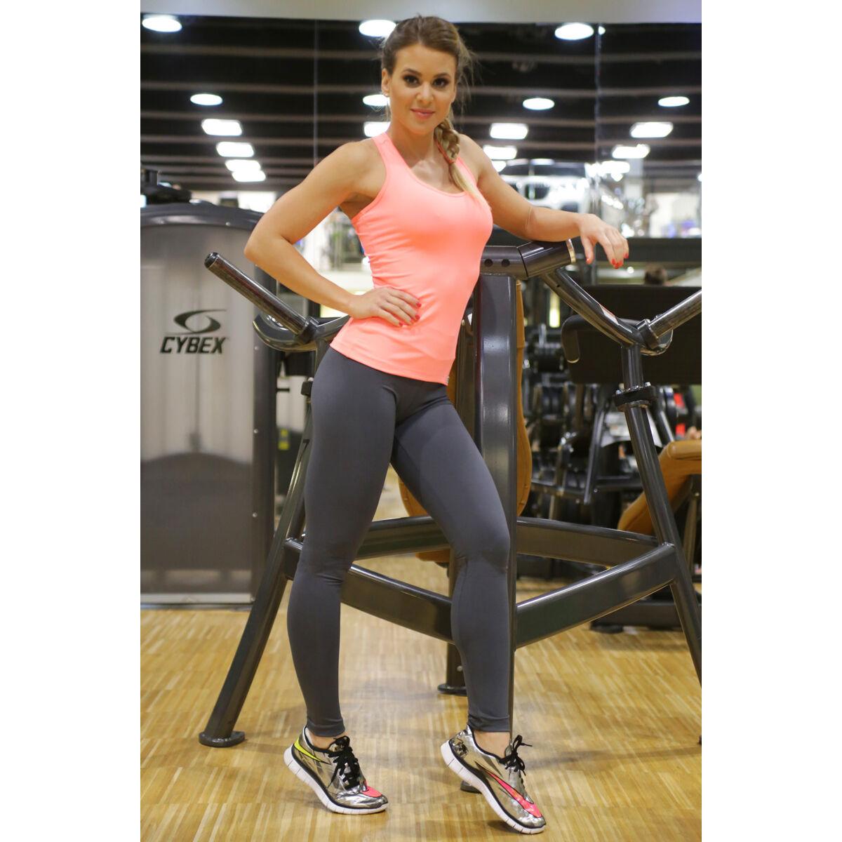 Szürke basic női fitness sport leggings + corall atléta szett