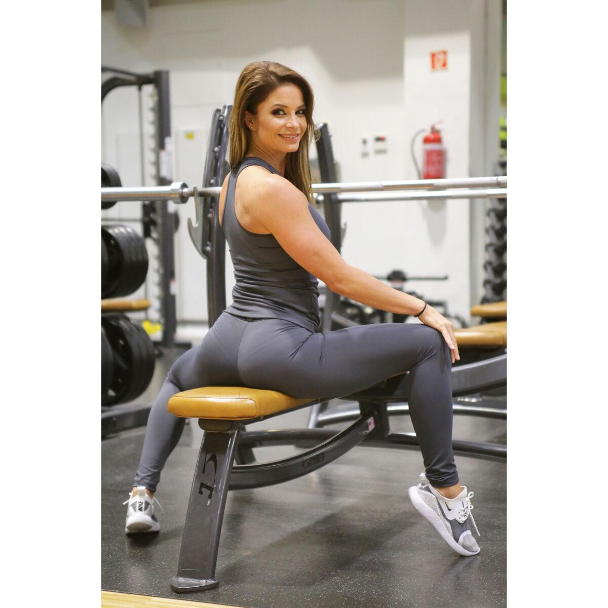 Szürke basic női fitness sport leggings + atléta szett