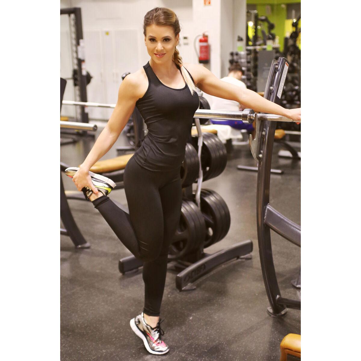 Fekete basic női fitness sport leggings + atléta szett