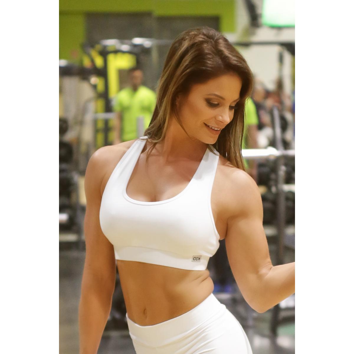 Fehér basic női fitness sport top
