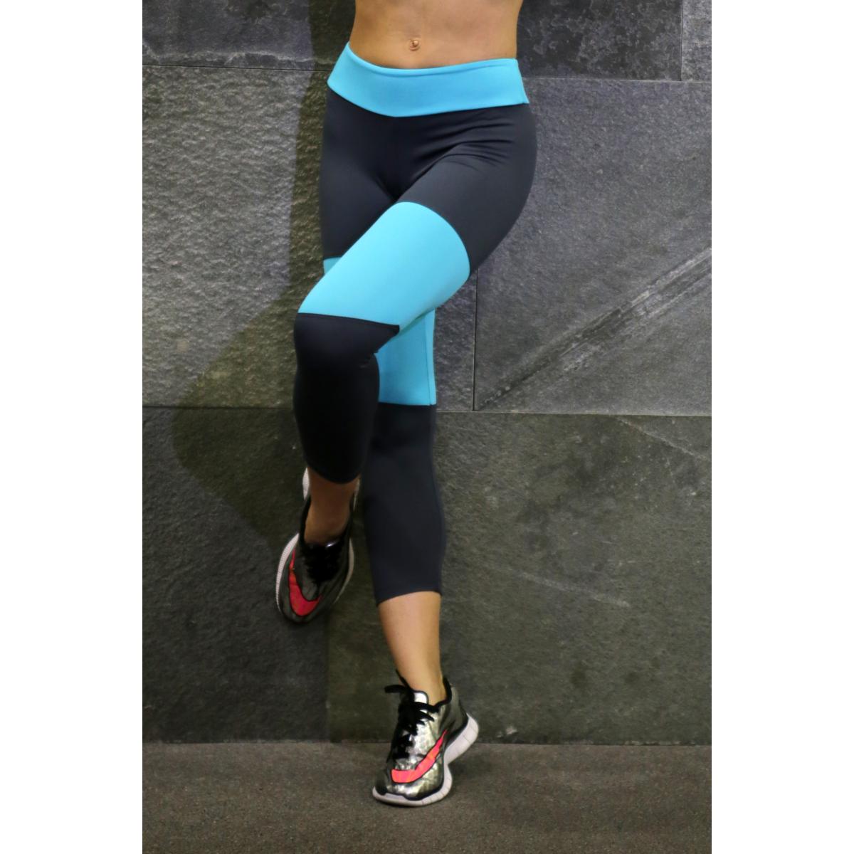 Szürke-menta basic női fitness capri nadrág