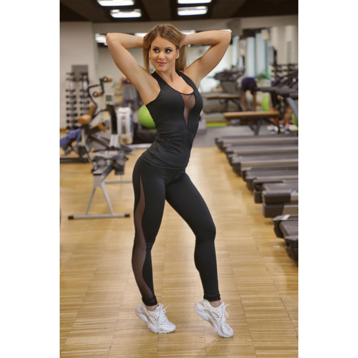 Flame női fitness tüll leggings + atléta szett, fekete