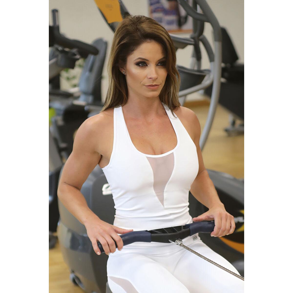 Flame női fitness tüll atléta, fehér