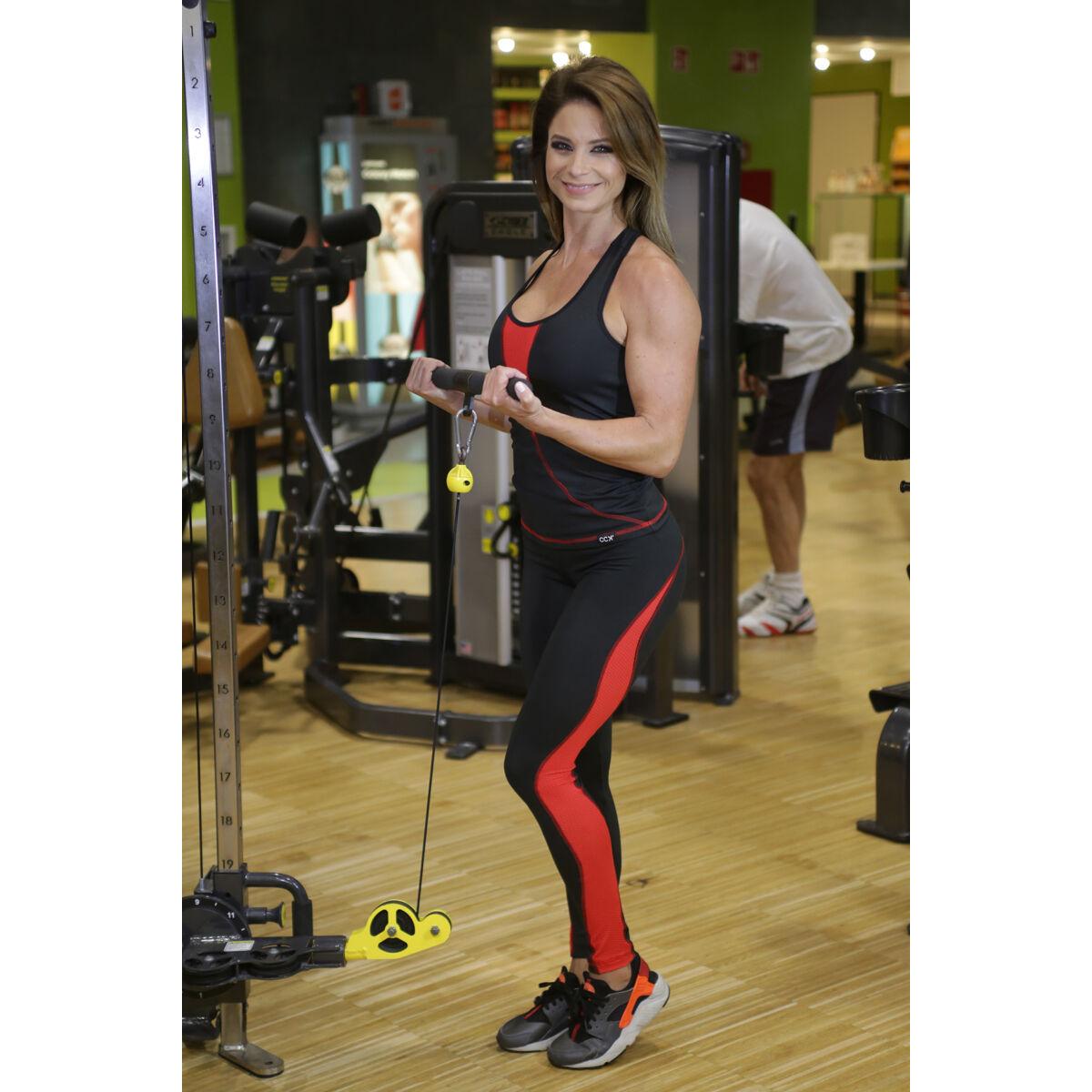 Flame női fitness tüll leggings + atléta szett, fekete-piros