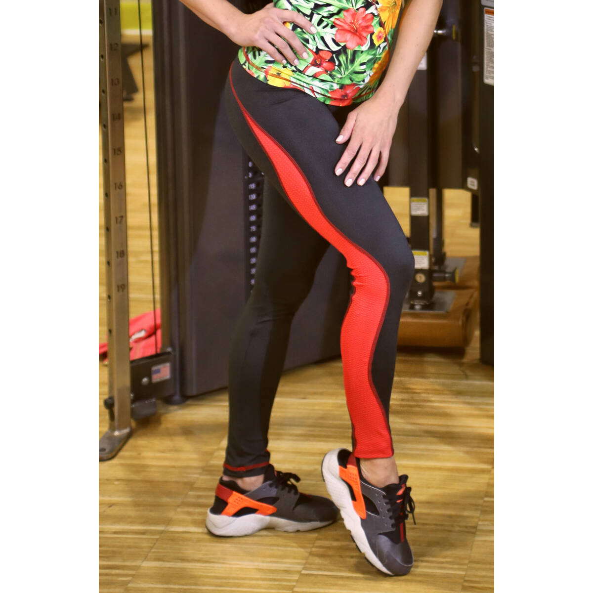 Flame női fitness tüll leggings, fekete-piros