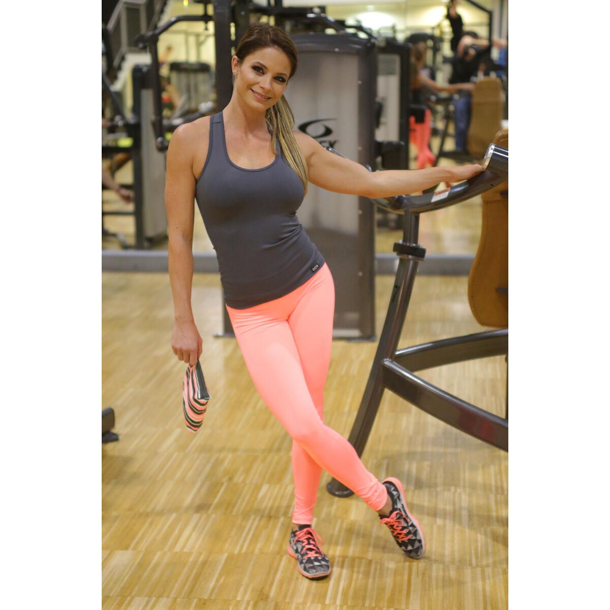 Korall basic női fitness sport leggings + szürke atléta szett