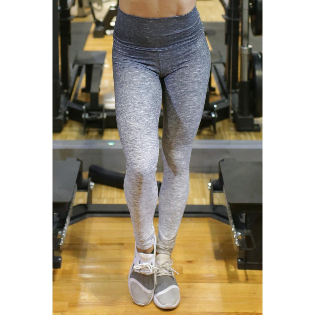 Melange szürke női fitnesz boka nadrág