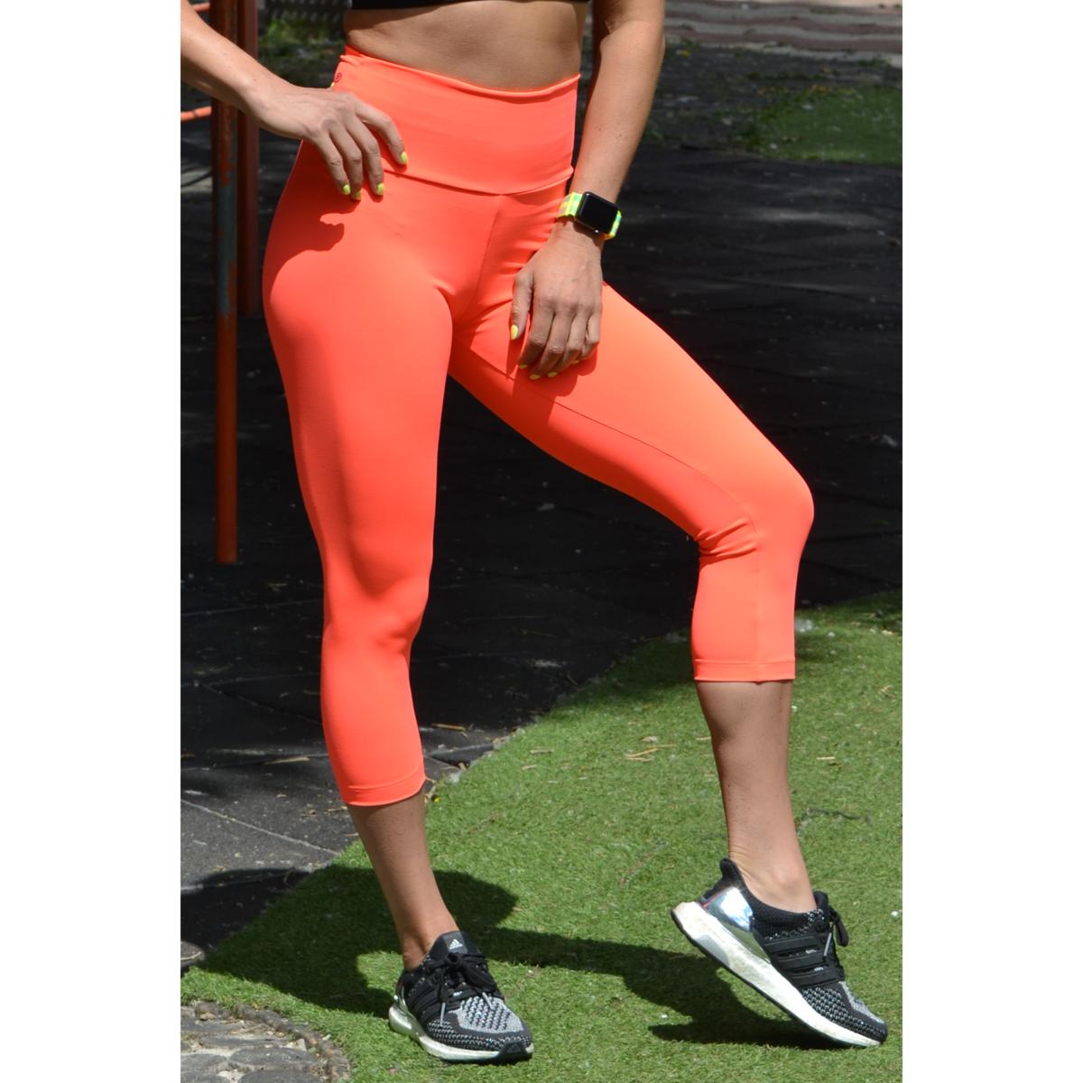 Neon korall (rio) basic magasderekú női fitness sport caprinadrág