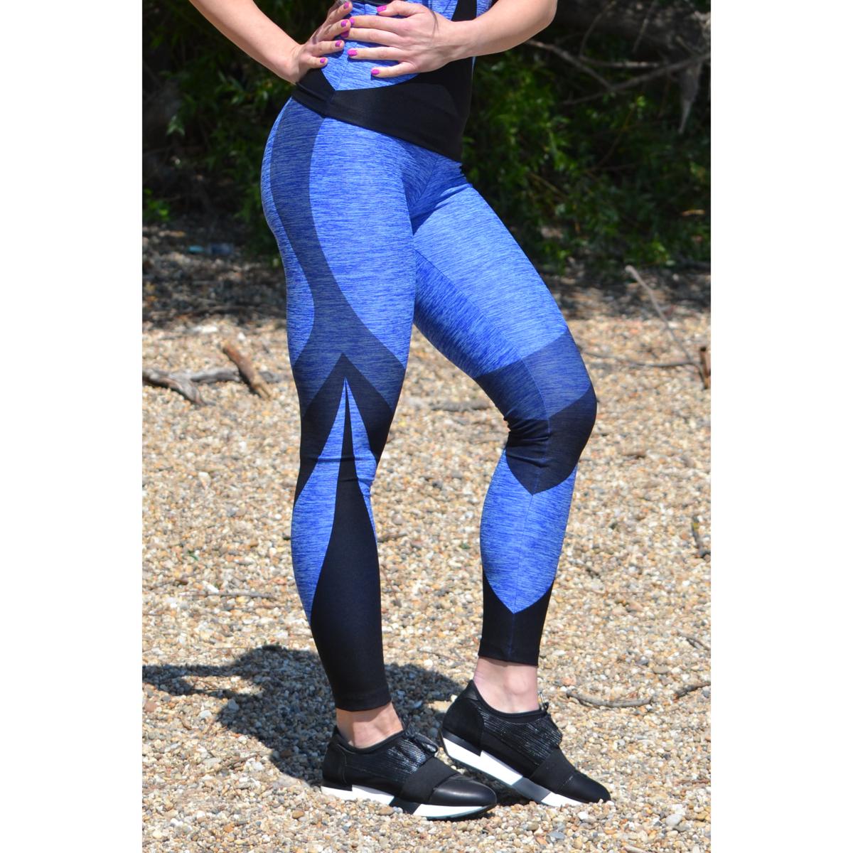 Melange kék ívelt mintás női fitnesz 7/8-os leggings