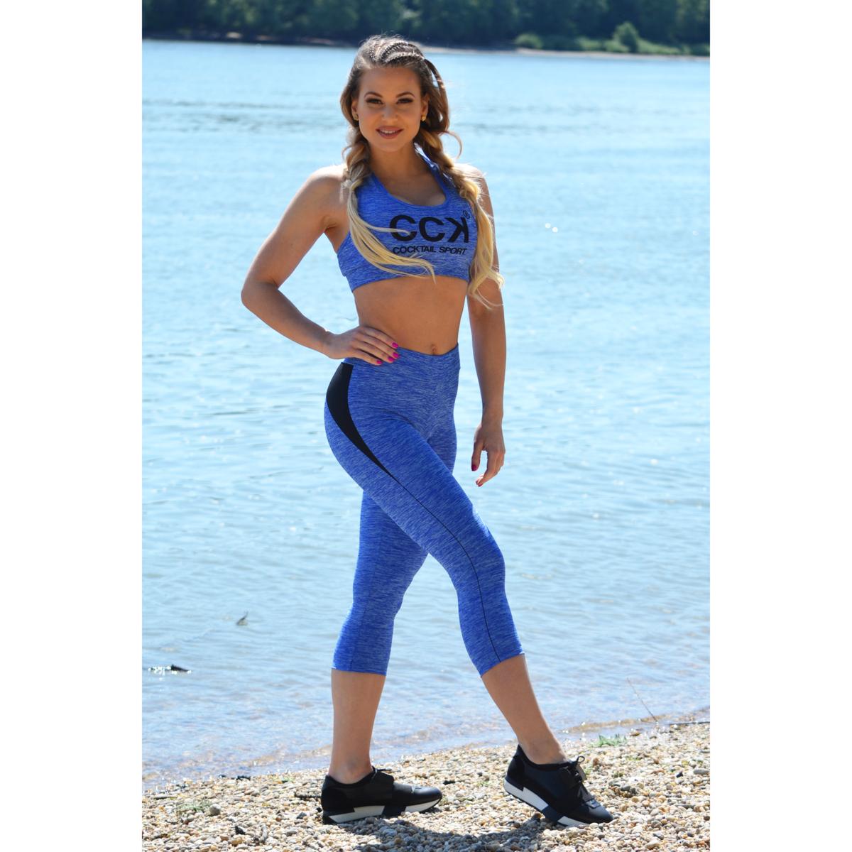Melange kék női fitnesz capri nadrág + sport top szett