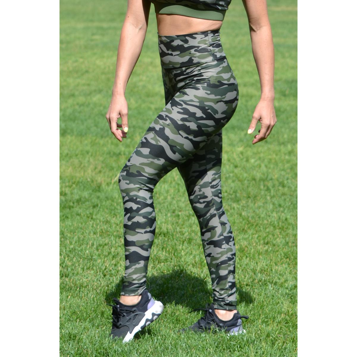 Khaki terepmintás, magasderekú leggings