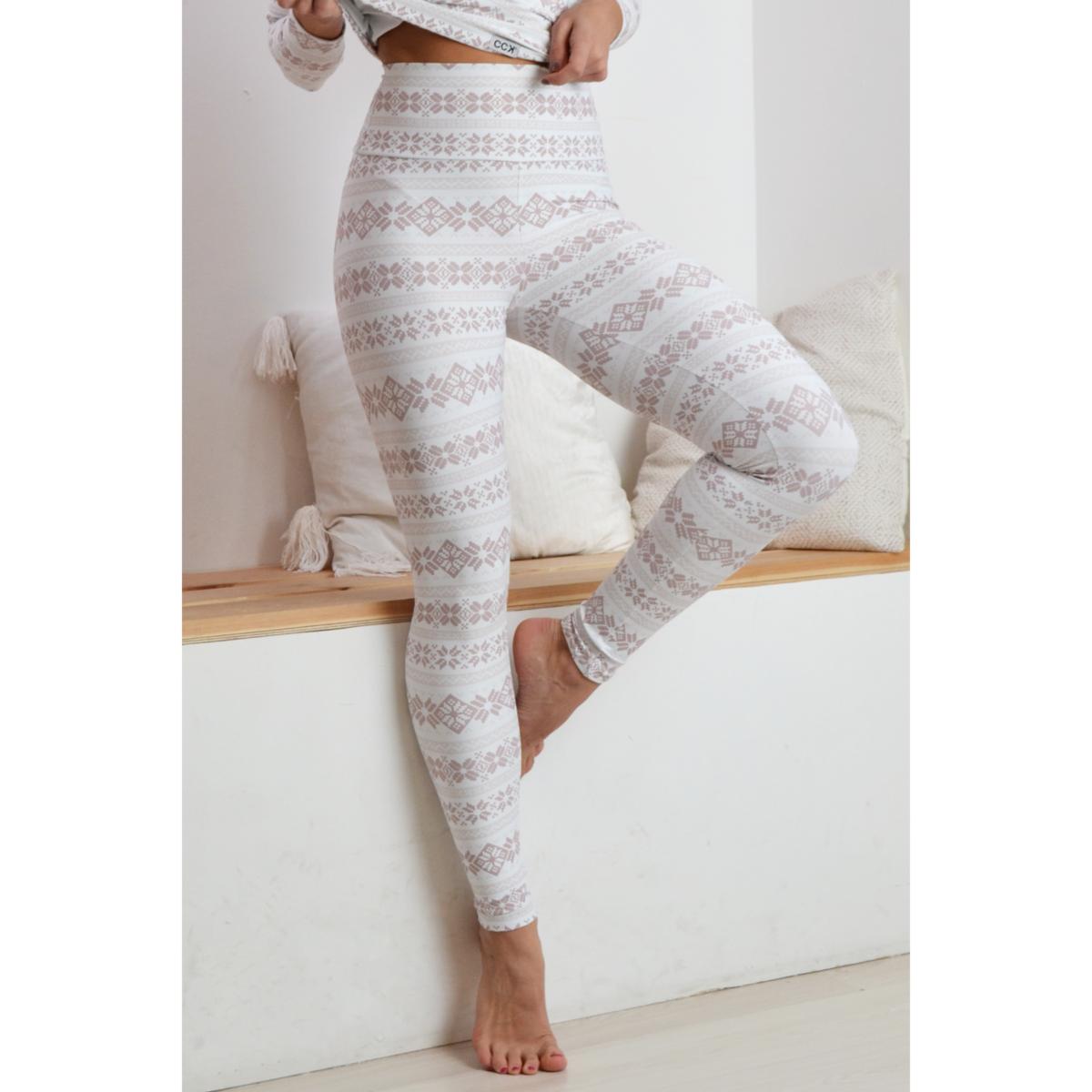 Skandináv mintás magasderekú fitness leggings, fehér bézs