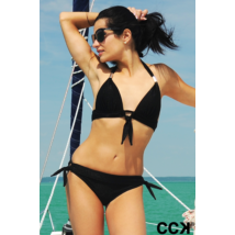 Fekete csillogós push up háromszög LUX bikini