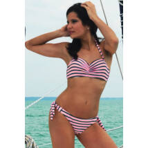 Szürke - barack - fehér csíkos push up bandeau bikini