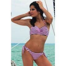 Szürke - rózsaszín - fehér csíkos push up bandeau bikini