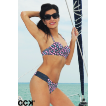 Pöttyös mintázatú push up bandeau formakosaras bikini, oldalt ráncolt betétes bugyival.