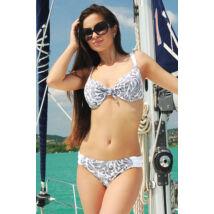 Fehér elegáns mintás D kosaras melltartó fazonú bikini.