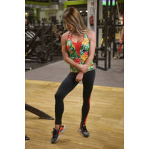 Flame fekete-piros női fitness tüll leggings + jungle-piros atléta szett