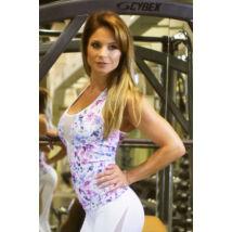 Fehér virágos flame női fitness atléta