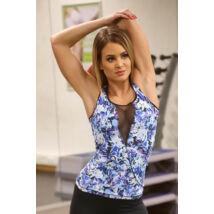 Kék virágos flame női fitness atléta