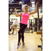 Fekete basic női fitness sport leggings + pink atléta szett