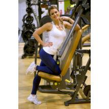 Sötétkék basic női fitness sport leggings + fehér atléta szett
