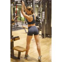 Szürke basic női fitness sport short + top szett