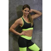 Fekete-neonzöld basic női fitness top