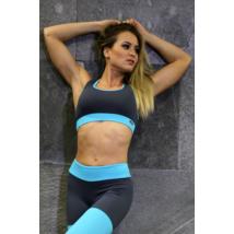 Szürke-menta basic női fitness top
