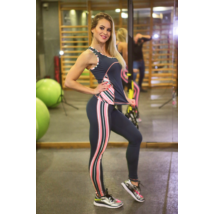 Csíkos korall mintás női fitness szett, hosszú nadrág, atléta - CCK - COCKTAIL SPORT
