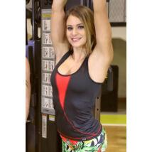 Flame női fitness tüll atléta fekete-piros