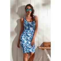 Kék virágos miniruha