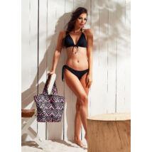 Fekete push up háromszög bikini, brazil tangával