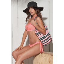 Basic push up bandeau bikini - coral