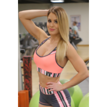 Korall csíkos női fitness top - CCK - COCKTAIL SPORT