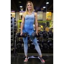 Melange kék női fitnesz boka nadrág + atléta szett