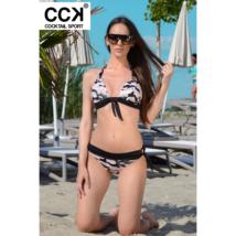 Púder terepmintás, széles pántos push up háromszög bikini