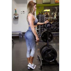 Melange szürke női fitnesz capri nadrág