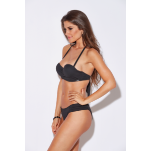 Fekete basic push up bandeau bikini