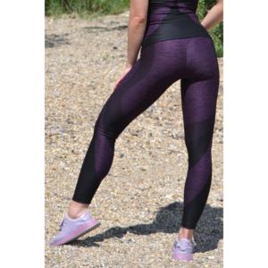 Melange padlizsán ívelt mintás női fitnesz 7/8-os leggings