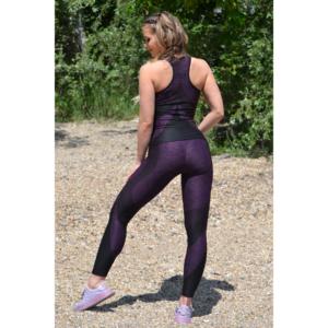 Melange padlizsán íves 7/8-os leggings + íves atléta szett