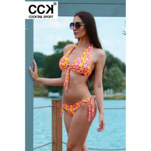 Napsárga-korall pöttyös kivehető szivacsos D kosaras bikini