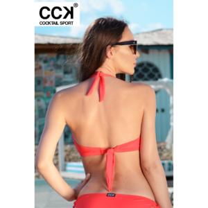 Korall piros basic, kivehető szivacsos, oldalpántos, D kosaras háromszög bikini felső