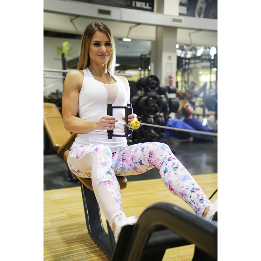 Flame fehér-lila virágos női fitness tüll leggings + fehér flame atléta szett